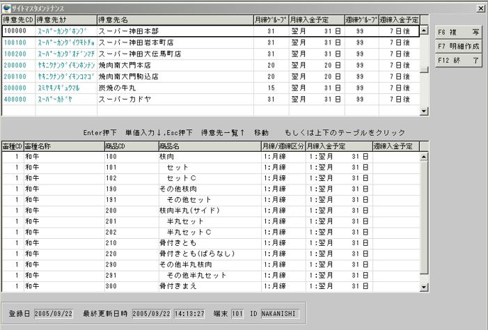 サイトマスタメンテ画面